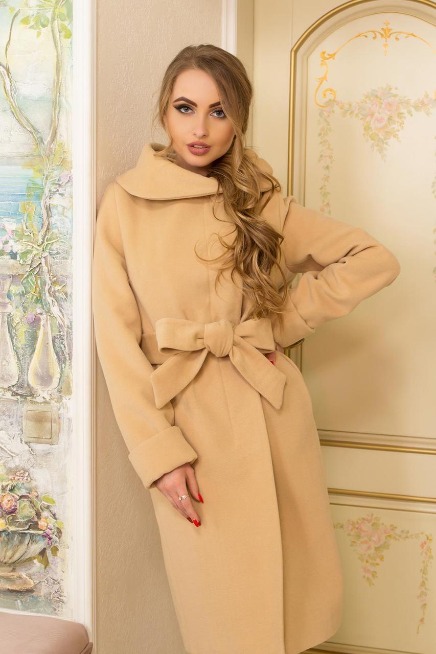 Нарядное женское пальто песочного цвета 44-58рр.