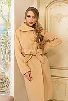 Нарядное женское пальто песочного цвета 44-58рр., фото 1