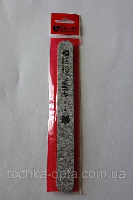 Пилка Salon Professional 180/180, прямая узкая, серая