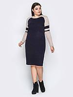 📐Комбинированное платье с рукавами-реглан (темно-синее, с круглым вырезом)  / 44,46,48,50,52 / P12A7B1 - 32356