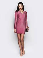 📐Люрексовое платье мини, с v-образным вырезом (розовое, с длинным рукавом) / 46,48 / P12A7B1 - 65548