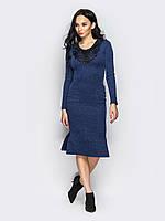 📐Трикотажное синее платье, облегающее фигуру (с кружевом, карманы, миди) / 42,44,46 / P12A7B1 - 15447