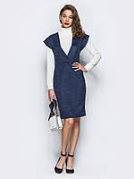 📐Замшевое платье-миди с глубоким V-образным вырезом (синие)  / 44,46,48,50 / P12A7B1 - 42257