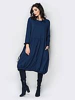 📐Синее свободное платье с присобранным низом (с длинным рукавом, миди) / 44,46,48,50,52,54 / P12A7B1 - 98023