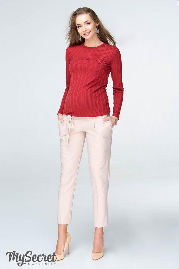 Стильные брюки-чинос для беременных LISA TR-19.023 бежевые