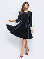 a06c8e38692 📐Бархатное платье с юбкой солнце-клёш (черное)   44