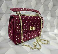 Женская сумка копия Валентино Valentino ткань велюр цвет бордовый, фото 1