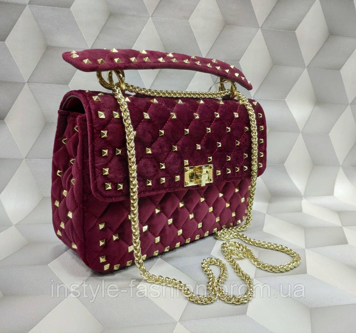 Женская сумка копия Валентино Valentino ткань велюр цвет бордовый
