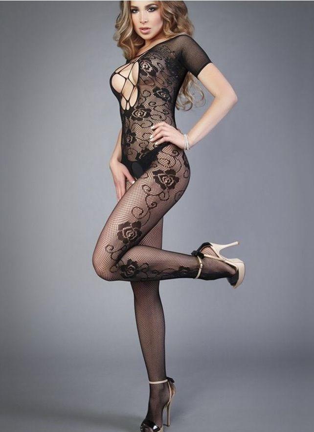 Шикарный и стильный эротический комбинезон с узорами