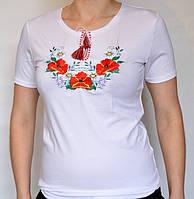 """Женская вышиванка белая с коротким рукавом """"Маки"""""""