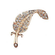 Жіноча брошка Золоте перо з камінням Сваровські позолота 18К