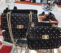 Женская сумка копия Валентино Valentino ткань велюр цвет черный, фото 1