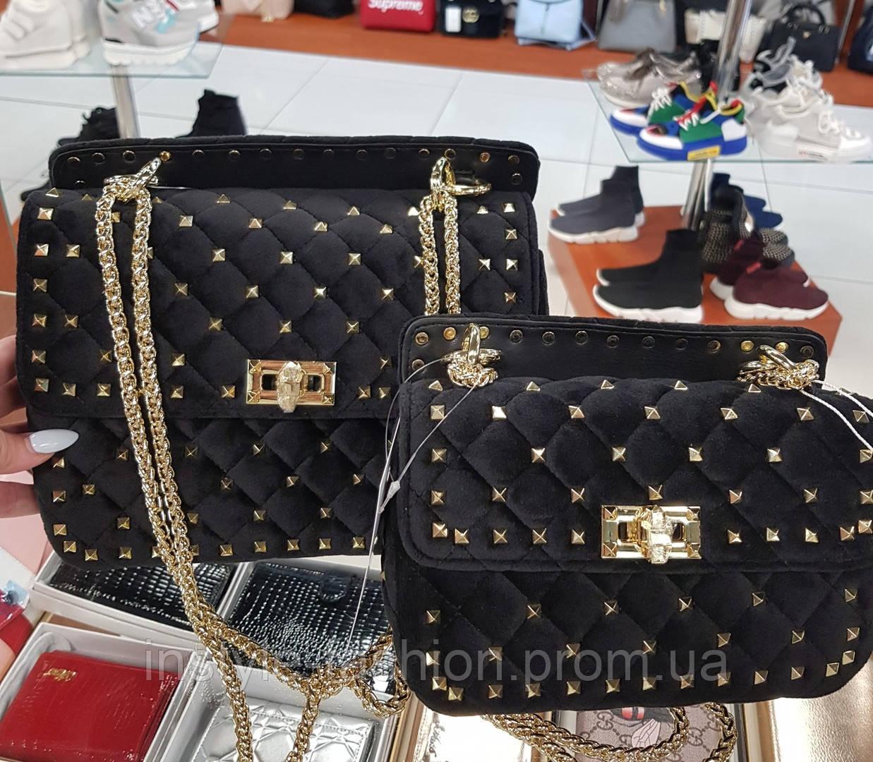 Женская сумка копия Валентино Valentino ткань велюр цвет черный