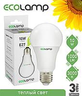 LED лампа 10 Вт, E27 теплый свет, фото 1