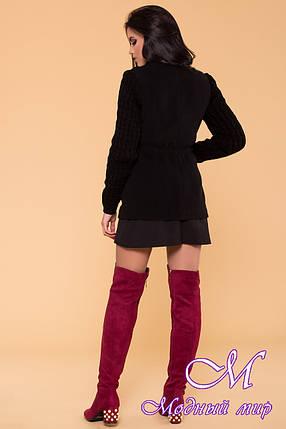 Вязаное женское пальто черного цвета (р. S, M, L) арт. Старк 9278, фото 2