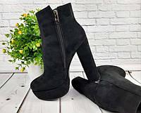 Женские ботинки на каблуке весенние черный серый KF0500