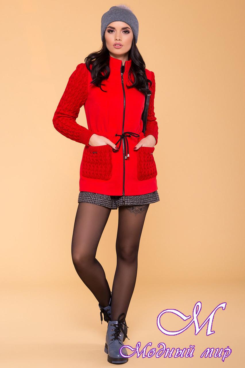Вязаное женское пальто красного цвета (р. S, M, L) арт. Старк 9277