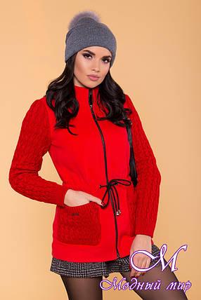 Вязаное женское пальто красного цвета (р. S, M, L) арт. Старк 9277, фото 2