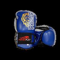 Боксерские перчатки Power Play 3006 Lion (Черные, Синие, Красные) Взрослая, Искусственная кожа, 14oz, Синий