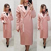 Распродажа!!! Замшевое пальто Oversize на змейке с карманами и подкладкой, М100, цвет пудра