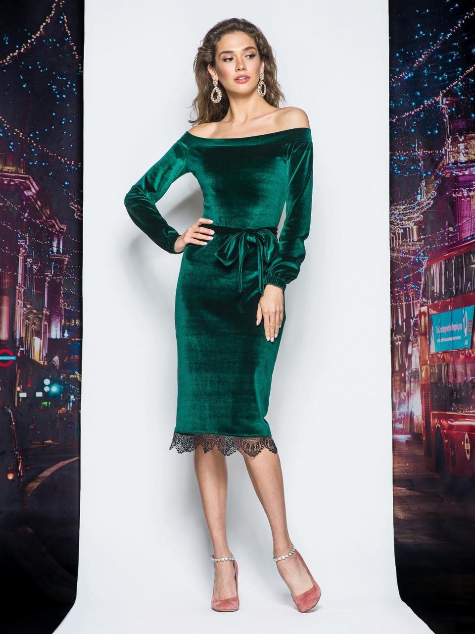 f103219a68b 💧Бархатное платье с открытыми плечами (зеленое