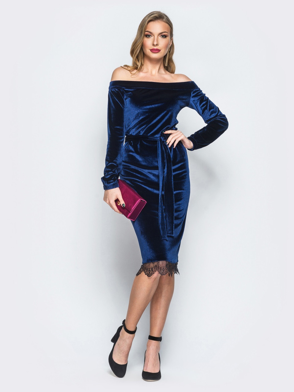 9a7b8af97fa 💧Облегающее бархатное платье с кружевом по низу (синее