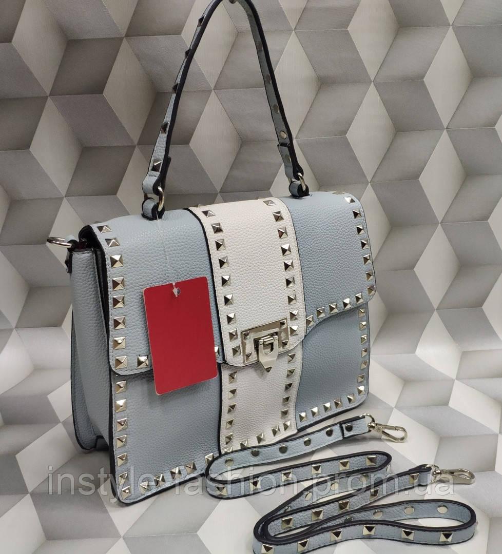 8495bb3fde23 Женская сумка-клатч копия Валентино Valentino качественная эко-кожа цвет  голубой