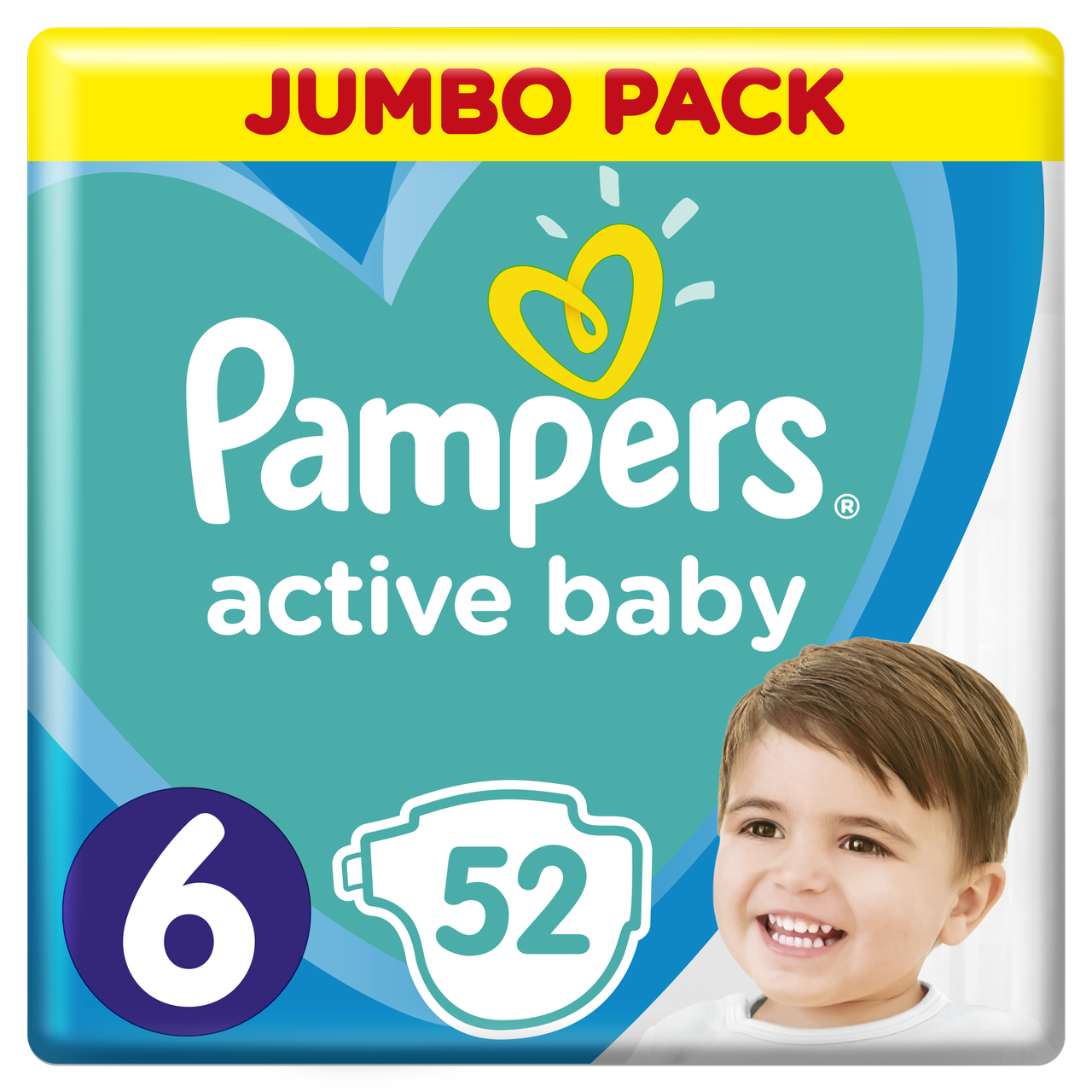 Подгузники Pampers Active Baby Размер 6 (Extra large) 15+ кг, 52 подгузника