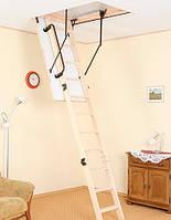 Деревянная чердачная лестница OMAN Termo c поручнем