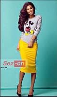 Костюм женский свитшот с Микки Маусом и ярко-желтая юбка