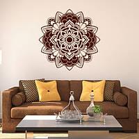 Виниловые наклейки Менди Интерьерная декоративная наклейка (индийские узоры круглые орнаменты) матовая 800х800 мм