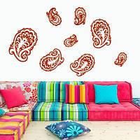 Виниловые наклейки Пейсли интерьерная наклейка (ПВХ наклейки стикеры декор набор наклеек абстракции перья наборы перо) матовая , фото 1