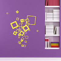 Квадраты, интерьерная виниловая наклейка (геометрические наклейки абстракции, стикеры орнаменты)