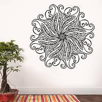 Виниловая наклейка Мандала интерьерная декоративная (индийские орнаменты наклейки узоры декор круг) матовая, фото 1