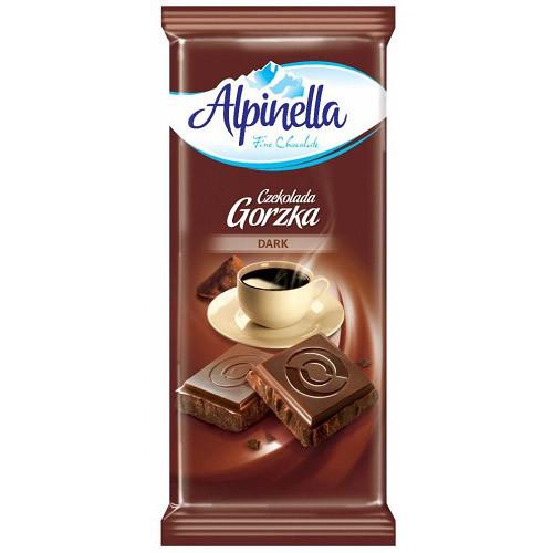 Шоколад Alpinella Gorzka черный 90 г/25 шт в уп