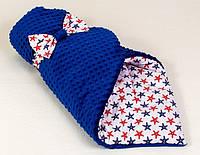 """Зимний плюшевый конверт - одеяло на выписку """"Морские звезды"""", 80 х 85 см синий"""