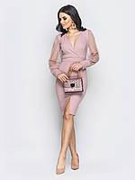 📐Розовое облегающее платье с рукавам из фатина (с V-образным вырезом) / Размер 42,44,46 /  P12A7B1 - 25201/1