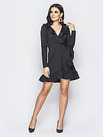 📐Элегантное черное платье приталенного кроя на ложный запах ( с воланами,мини) / 42,44,46 / P12A7B1 - 25202/2