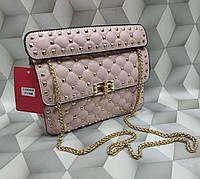 Женская сумка-клатч копия Валентино Valentino качественная эко-кожа дорогой Китай розовая