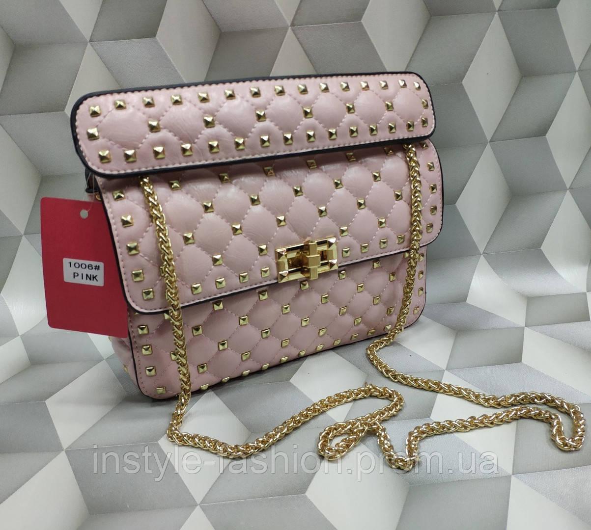c1d8fe6b0475 Женская сумка-клатч копия Валентино Valentino качественная эко-кожа дорогой  Китай розовая