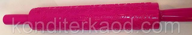 Скалка текстурная с ручками Розы с сердечками