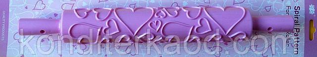 Скалка текстурная с ручками Сердца