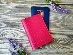 Обложка на паспорт розовые сердечки (глянцевая)