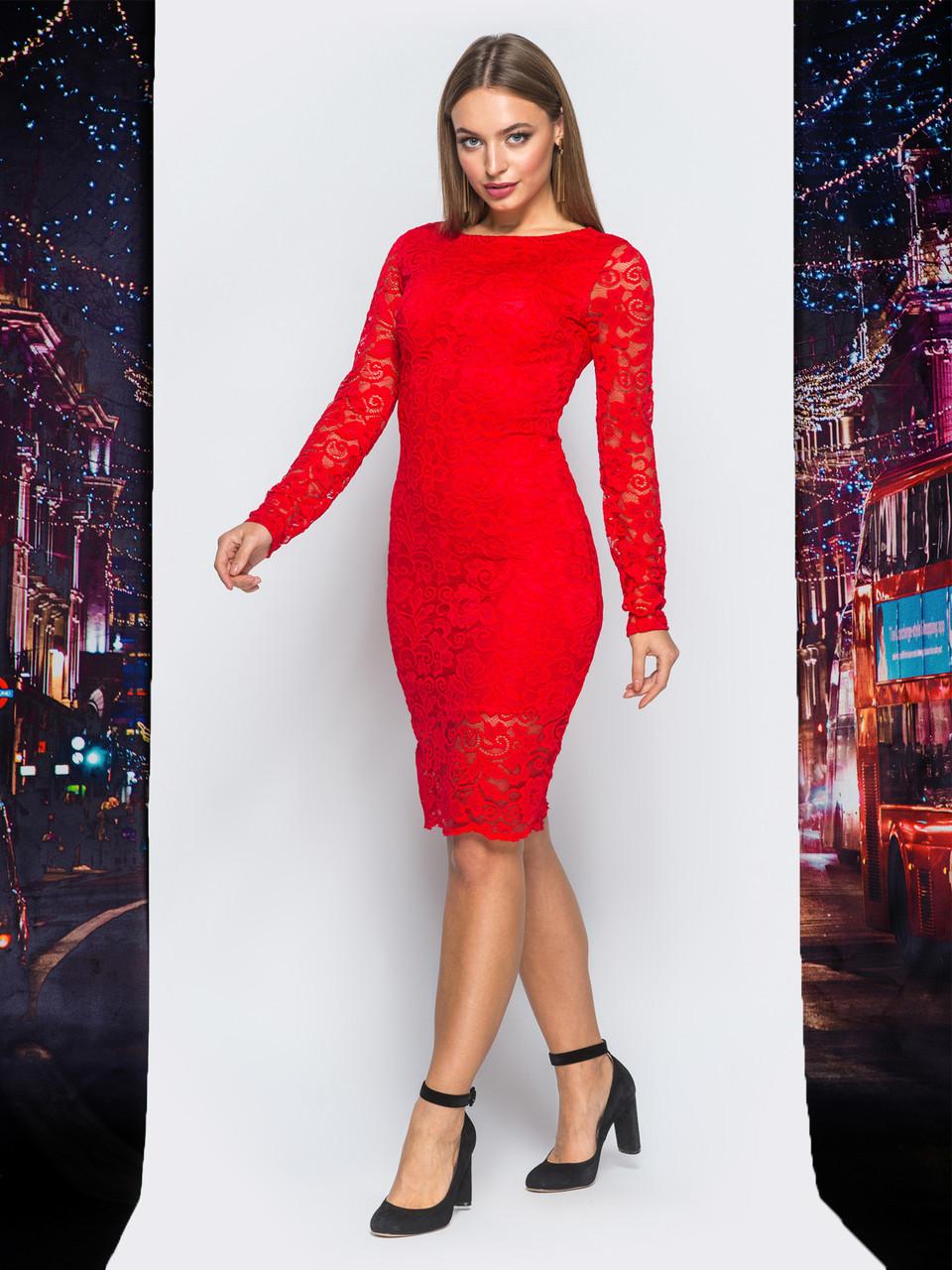 d9fe5b68049 📐Облегающее гипюровое платье с длинным рукавом (красное)   Размер ...