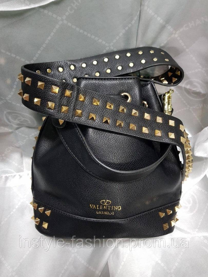 f0d3b93f82f4 Женская сумка мешок копия Валентино Valentino качественная эко-кожа цвет  черный, ...