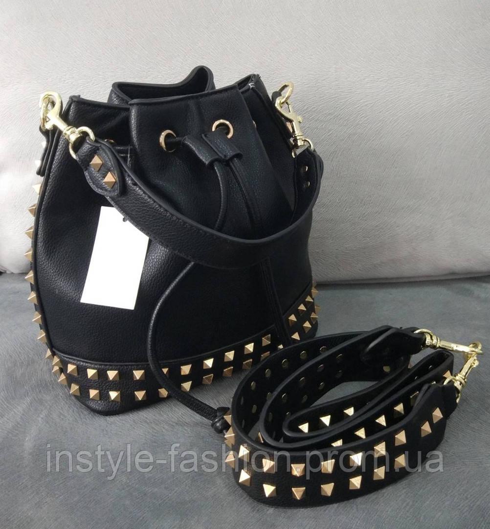 260c28b73187 Женская сумка мешок копия Валентино Valentino качественная эко-кожа цвет  черный