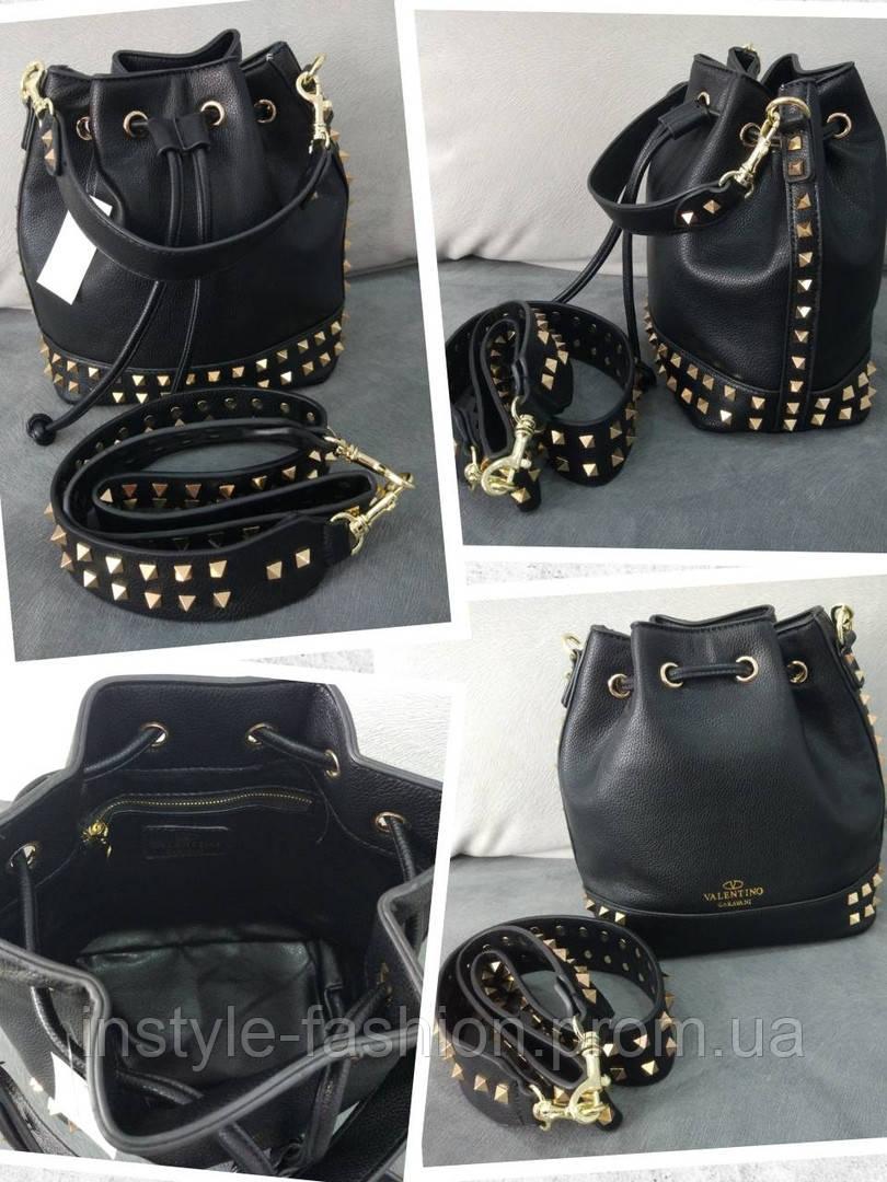 5cf356cf7c14 ... Женская сумка мешок копия Валентино Valentino качественная эко-кожа  цвет черный, ...