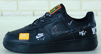 """Кроссовки мужские Nike Air Force 1 Low """"Just Do It"""" Black, найк аир форс черные"""