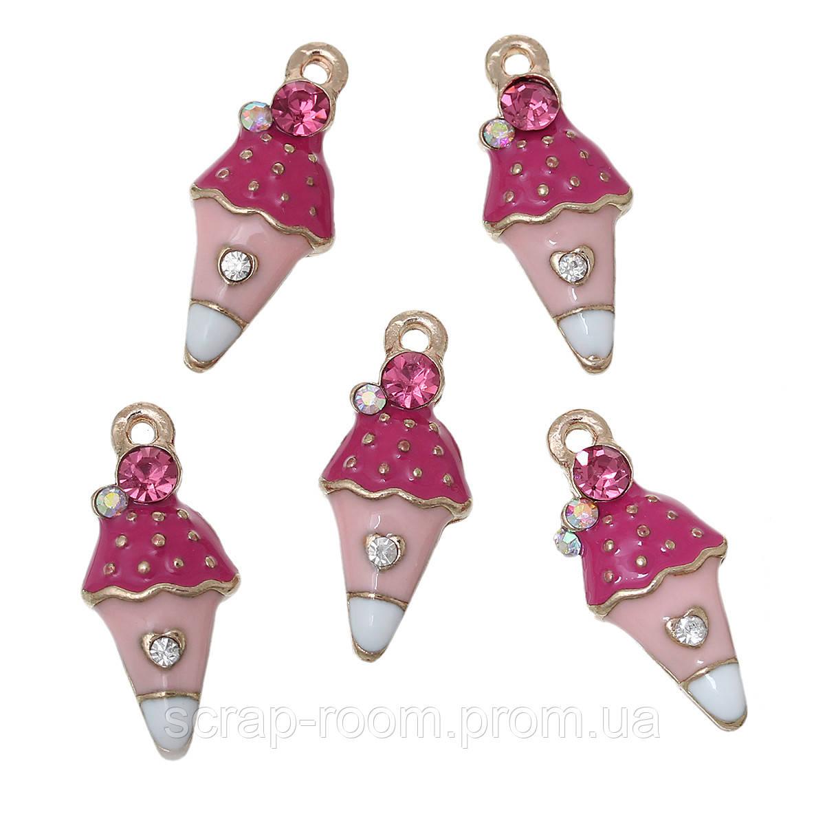 Подвеска позолоченная Мороженное розовое со стразами, подвеска с  цветной эмалью 23*10 мм