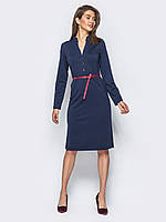 📐Лаконичное платье приталенного кроя с разрезами сбоку (синее) / Размер 44,46,48,50,52,54 /  P12A7B1 - 10065
